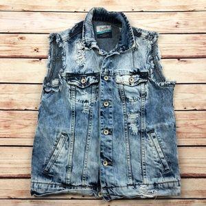 Zara Distressed Destroyed Acid Wash Trucker Vest S
